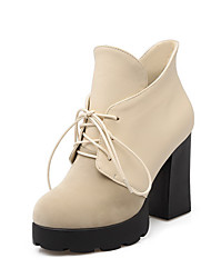 Women's Round Closed Toe High Heels Ankle High Solid Boots