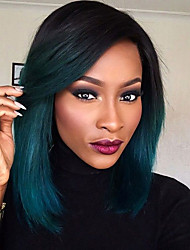Synthetic Lace Front Wig Back to Dark Green Glueless Ombre Tone Color Short Bob Hair Wigs