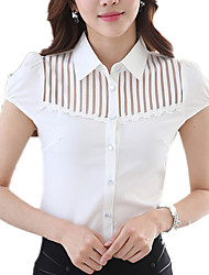 Women's Shirt Collar Solid Wild Mesh Lace Stitching Commuter OL Work Plus Size Short Sleeve Shirt