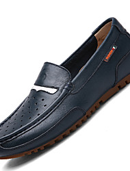 Men's Loafers & Slip-Ons Comfort Cowhide / Leather Casual Flat Heel Lace-up Black / Brown / Navy Others