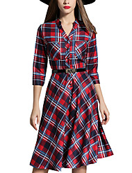 Spring Fall Women's Dresses V Neck 3/4 Sleeves Plaid A Dress Ladies Casual Fashion Red Dress