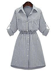 Chemise Robe Femme Grandes Tailles Chic de Rue,Rayé Col de Chemise Au dessus du genou Manches ¾ Bleu Polyester Printemps / AutomneTaille