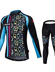 Maglia con pantaloni da ciclismo Per uomo Maniche lunghe Bicicletta Maglietta/Maglia Calzamaglia/Salopette/CorsariAsciugatura rapida Zip