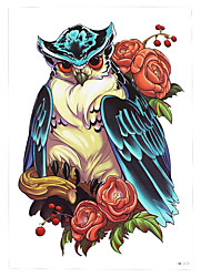 1pc Colored Drawing Owl Rose Flower Tattoo Design Temporary Women Men Body Art Tattoo Paste Sticker Paper HB-272