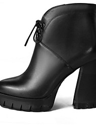 Women's Boots Fall / Winter Combat Boots Leather Outdoor Chunky Heel Lace-up Black / Almond Others