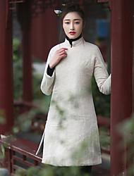 Ample Robe Femme Décontracté / Quotidien Vintage,Couleur Pleine Mao Mi-long Manches Longues Blanc Lin Automne / Hiver Taille NormaleNon