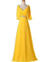 Formal Evening Dress A-line V-neck Floor-length Chiffon with Beading / Pleats