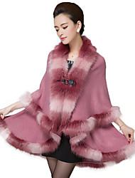 Women's Going out / Party/Cocktail Vintage / Sophisticated Long Cloak / Capes Imitation Fox Fur Coat Shawl Lapel