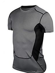 Per uomo T-shirt da corsa Manica corta Traspirante Morbido Top per Esercizi di fitness Corsa Tessuto sintetico Taglia piccolaNero Verde