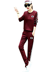 Women's Plus Size / Sports Street chic Active Fall Set Pant,Color Block Round Neck Long Sleeve