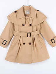 Girl's Casual/Daily Solid Trench CoatCotton Fall Brown
