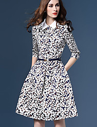 Women's Going out Street chic Sheath DressPrint Shirt Collar Knee-length  Sleeve Blue / Multi-color Polyester Fall