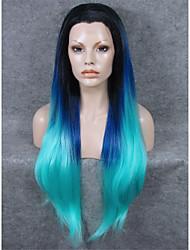 imstyle 30cheap extra suave raiz longa ombre reta peruca sintética azul preto