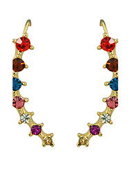 Beautiful Colorful Rhinestone Long Ear Cuff Wrap Earrings