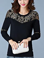 Damen Stickerei Einfach Lässig/Alltäglich T-shirt,Rundhalsausschnitt Herbst Langarm Blau / Schwarz Baumwolle Undurchsichtig