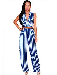 Women's Blue Stripes Button Front Belted Jumpsuit