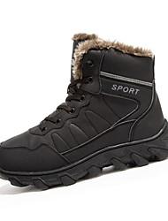 Черный Коричневый-Мужской-Для прогулок-Кожа-На плоской подошве-Удобная обувь Теплая зимняя обувь-Ботинки