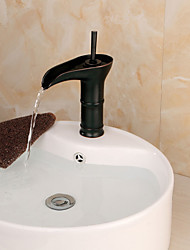 Bathroom Deck Mounted Oil-rubbed Bronze Waterfall Single Handle Single Hole Basin Faucet