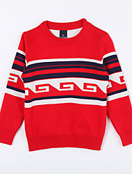 Girl's Casual/Daily Color Block Sweater & CardiganCotton Fall Red