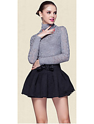 Women's Casual/Daily Simple Regular PulloverSolid Blue / Black / Gray / Purple Turtleneck Long Sleeve Others