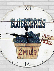 1PC European Style Rural Wooden Wall Clock  Retro Nostalgia Wood Grain Pattern(Pattern is Random)