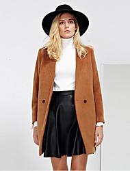 Damen Solide Einfach Arbeit Mantel,Winter Steigendes Revers Langarm Braun Dick Wolle / Polyester