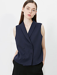 c + impressionar trabalho verão simples xale blazersolid lapela azul sem mangas de poliéster das mulheres opaco