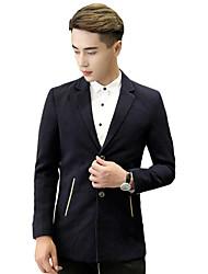 Masculino Blazer Casual / Escritório / Formal Cor Solida Manga Comprida Algodão Azul / Cinza