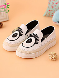 Unisex Loafers & Slip-Ons Spring Fall Leather Casual Flat Heel Others Black White Others