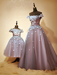 Formal Evening Dress A-line Off-the-shoulder Floor-length Tulle / Charmeuse with Beading / Flower(s) / Lace / Sequins