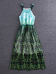 Boutique S Going out / Sophisticated Sheath Dress,Print Round Neck Maxi Sleeveless GreenSilk