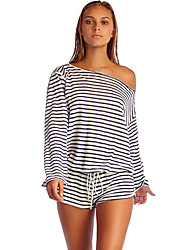 Women's Striped Red / Black / Yellow JumpsuitsSexy Boat Neck Long Sleeve