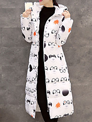 Women's Popular Long Down Coat Simple Plus Size Print Long Sleeve Hooded