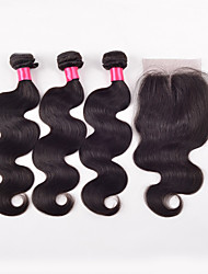 1PC Lace Closure With Bundles 3PCS Indian Virgin Hair Body Wave Lace Closure 4*4 Indian Virgin Hair Bleach Knots