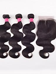 Волосы Уток с закрытием Индийские волосы Прямые 4 предмета волосы ткет