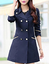 Women's Solid  Trench Coat , Casual/Work Long Sleeve Polyester Button