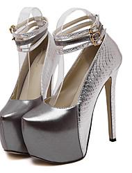 Damen-High Heels-Lässig-Kunstleder-Stöckelabsatz-Komfort-Rot / Silber