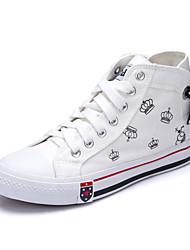 Damen-Sneaker-Lässig-Leinwand-Flacher Absatz-Komfort-Schwarz / Blau / Rot / Weiß