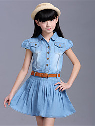 Girl's Casual/Daily Solid JeansCotton / Polyester Summer / Spring Blue
