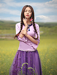 Our Story  Going out Vintage Spring / Fall T-shirtJacquard Round Neck Long Sleeve Purple Polyester / Spandex Medium