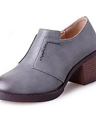 Women's Boots Fall / Winter Combat Boots Pigskin Office & Career / Casual Low Heel Slip-on Black / Gray Walking