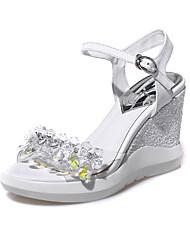 Women's Sandals Transparent Summer Platform PU Casual Wedge Heel Platform Crystal White Silver Other