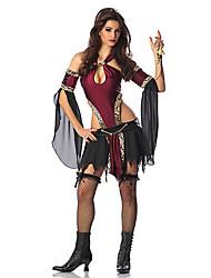 Fantasias de Cosplay Festa a Fantasia Vampiros Festival/Celebração Trajes da Noite das Bruxas Patchwork Vestido Mais AcessóriosDia Das