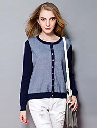 Women's Casual/Daily Simple CardiganPatchwork Blue Round