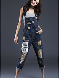 Women's Patchwork Blue JumpsuitsSimple Strap Sleeveless
