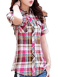 Женский На каждый день Весна Рубашка Рубашечный воротник,Простое Контрастных цветовСиний / Розовый / Красный / Бежевый / Зеленый /