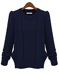 Damen Kurz Pullover-Lässig/Alltäglich Einfach Solide Blau / Grün Rundhalsausschnitt Langarm Andere Frühling / Herbst Mittel