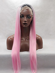 Fashion Long Straight Synthetic Lace Front Wig Glueless 1b/pink Color For Afro Women Wigs