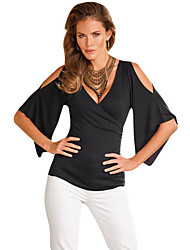 Women's V Neck Slit Sleeve Wrap Top