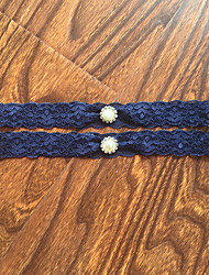 Garter Stretch Satin / Lace Lace / Rhinestone Blue